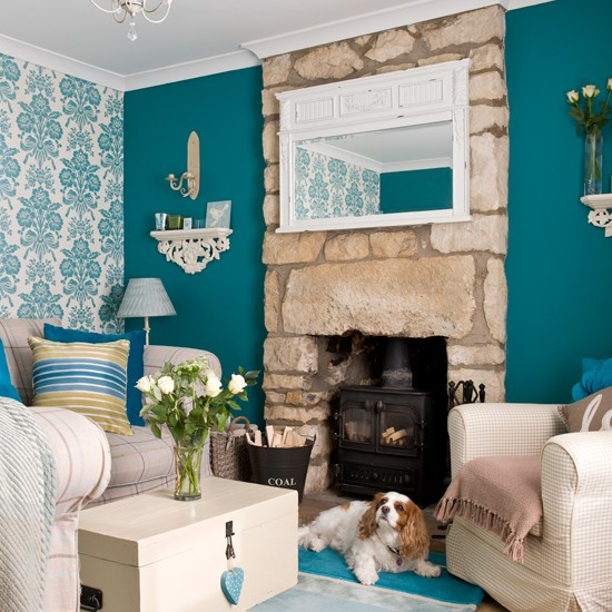 Teal-Country-Living-Room-Beautiful-Homes-Housetohome