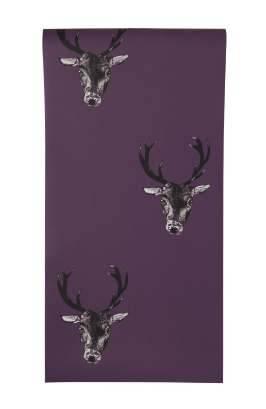Stag Head Repeat Plum Wallpaper from Graduate Collection