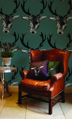wallpaper with stag head pattern
