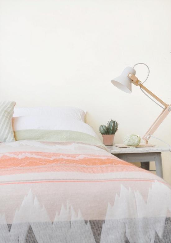 Orange and white bedpread