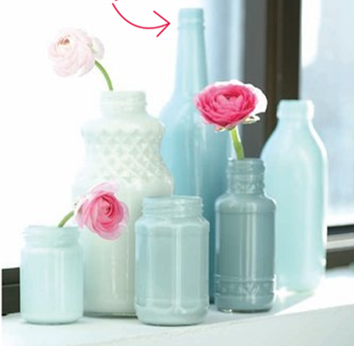 Painted milk bottles