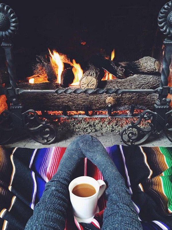 cosy winter fireplace
