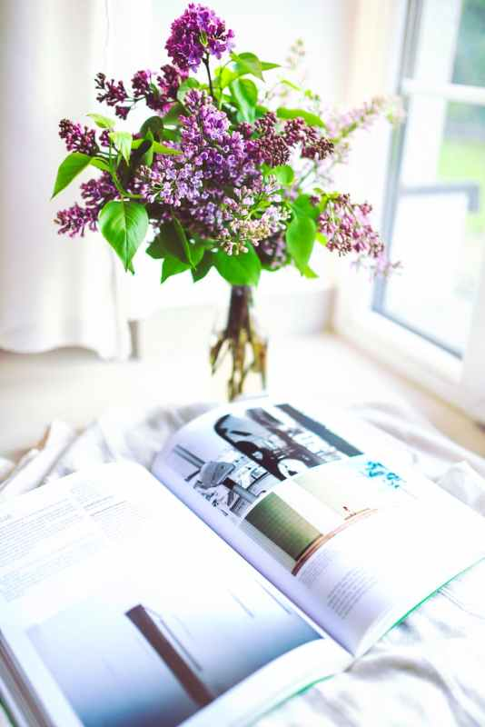An open book next to a vase of purple flowers.